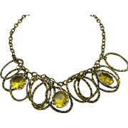 SALE Antiqued Bronze Rings and Yellow Rhinestones Dangle Necklace