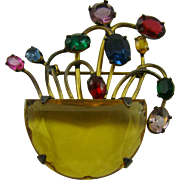 SOLD Circa 1940s Basket of Flowers Rhinestone Brooch