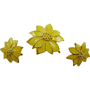 SALE Glitter Yellow Poinsettia Demi Parure