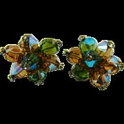 SALE Vendome Multi Colored Bead Rhinestone Tipped Earrings