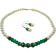 SALE Emerald Green Glass Bead and Faux Baroque Pearl Set