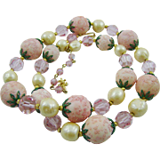 SALE Beautiful Delicate Pink Vendome Flower Garden Necklace