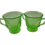 "SALE Georgian ""Lovebirds"" Large Creamer and Sugar Bowl by Federal Glass Company"
