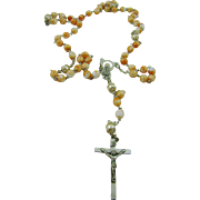SALE Italian Coral and White Glass Bead Rosary