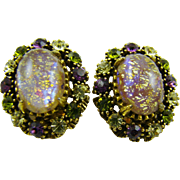 SALE Glitter Easter Egg Cabochon and Rhinestone Earrings