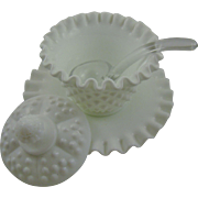 SALE Fenton Milk Glass Hobnail Mayonnaise Set