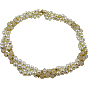 SALE Napier Imitation Pearl and Lucite Triple Strand Necklace