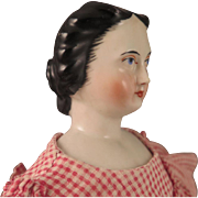 SOLD 1860-70 German China Head 17 inch Doll with Waterfall Hairstyle