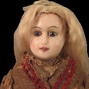 SOLD 15 inch Antique German Reinforced Wax Fashion Lady Doll