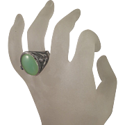 SALE Arts and Crafts 800 Silver Nude Man Woman Chrysoprase Ring