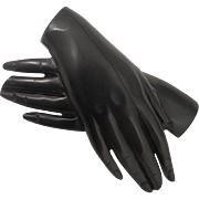 Victorian Whitby Jet Mourning Hands Brooch