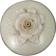 SALE Antique 3D Porcelain Rose Brooch