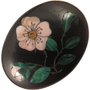Antique Pietra Dura Cherry Blossom Brooch