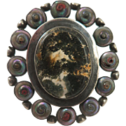 Georgian Sterling Silver Moss Agate Sea Shell Brooch