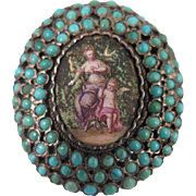 SALE Georgian 900 Silver Turquoise Enamel Locket Brooch