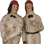 SALE Pair Staffordshire Cricket Players Statue Figurines or Bookends