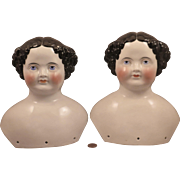 Pair 8.5 inch Antique German Flat Top China Doll Heads