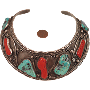 SOLD Vintage American Indian Navajo Sterling, Coral, Turquoise Collar Necklace