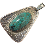Vintage Turquoise Hand Hammered 900 Silver Pendant