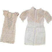 2 Antique Factory Made Doll Dresses
