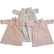 Antique Cotton Flannel Nightgowns plus Robe for 12-14 inch Dolls