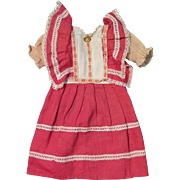 SALE Antique Red Original Factory Dress for 16 inch Bisque Doll