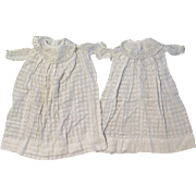 Pair Antique White Cotton Doll Dresses for 24 inch Twin or Sister Dolls