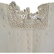 Antique White on White Cotton Dress for 16 inch Doll
