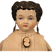 SALE PENDING 1870s Conte Boehme China Head Doll with Pierced Ears, 14 inch
