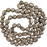 Sterling Silver Hollow Bead Necklace on Chain 32 inches