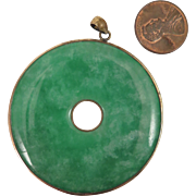 Large Green Jade Disc Pendant