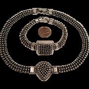 Vintage Sterling Silver Textured Necklace and Bracelet Set