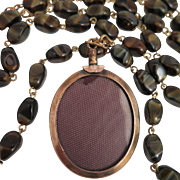 Antique Memorial Locket on Tiger Eye Bead Chain