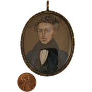 SALE Georgian 9K Portrait Miniature Gentleman Pendant Locket