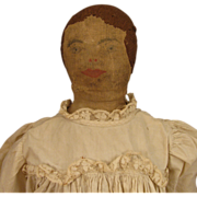 "22"" Antique Home Made Folk Art Cloth Rag Doll w/ Drawn Face & Stitched Hair"