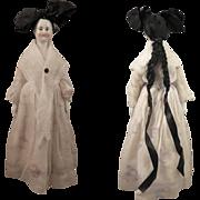 1860s German Bald Biedermeier China Doll Original Body and Wig, 16 inch