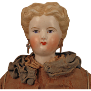 1870s Conta Boehme Blond Bisque Doll with Pierced Ears, 16.5 inch