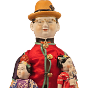 SALE PENDING Vintage Chinese Man China Doll plus 2 Children