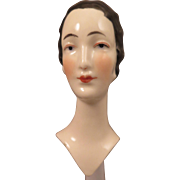 SALE PENDING 1920s China Half Doll Bust with Marcel Wave 3.5 inch