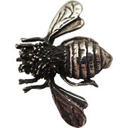 Early 1900s Sterling Silver Bee Insect Brooch