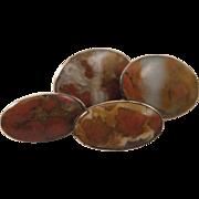 Antique Scottish Agate Sterling Silver Cufflinks