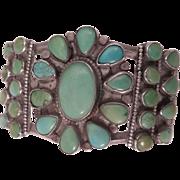Vintage Southwestern Sterling Silver Turquoise Bracelet Cuff