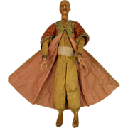SALE 12.5 inch Antique Wax and Wood Creche Figure Man Magi Doll