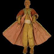 "SALE 12.5"" Antique Wax & Wood Creche Figure Man Magi Doll"