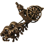 SALE Early 1900s Roman Chariot 3D Brooch