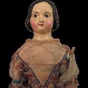 1840s German Papier Mache Milliner's Model Doll 13 inch
