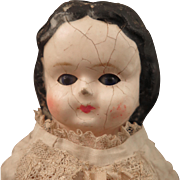 SALE 1870s Wax Over Composition Sleep Eye Doll with Original Body 11 Inch