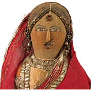 "SALE 13"" Antique Cloth Bride Doll From India"