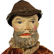 SALE 19th c. Jointed Wood Man Puppet Doll 16""