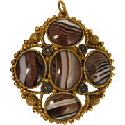 SALE Antique Etruscan Revival Gilded Memorial Pendant Locket w/ Banded Agate